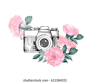 Vintage retro photo camera in flowers, leaves, branches on white background. Hand drawn Vector illustration,