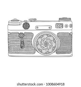 Vintage retro photo camera with leaves pattern on white background. Mandala style design. Adult coloring book. Boho style vector illustration.