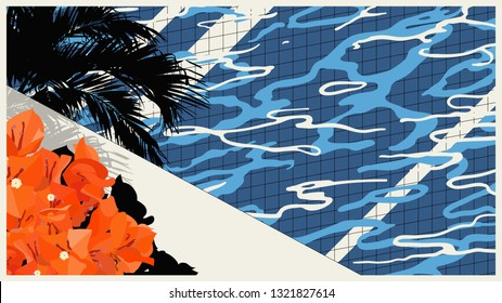 Vintage retro pool side with tropical bougainvillea flowers, nostalgic graphic background