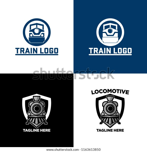 Vintage Retro Railroad Steam Train Logos Stock Vector
