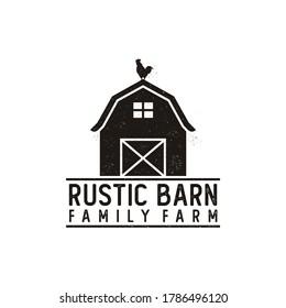 Vintage Retro Rustic Grunge Barn Farm logo design