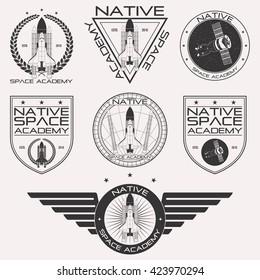 Vintage retro space academy monochrome logo set isolated on white background