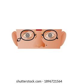 Vintage Retro Sticker. Modern Flat Vector Concept Illustrations. Parts of Face. Eyes, Nose, Ears, Cheeks, Eyeglasses Icon. Social Media Ads.