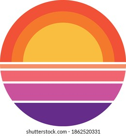 vintage retro striped sunset graphics. you can edit and use in your projects (t-shirt,POD,book cover…).