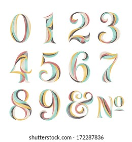 Vintage Retro Style Colorful Vibrant Numbers Numerals