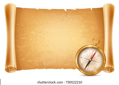 Vintage or retro style compass and ancient paper scroll. Concept of travel and adventure. Vector illustration. Isolated on white background.