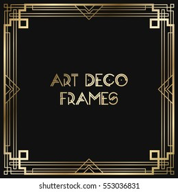 Vintage retro style invitation  in Art Deco. Art deco border and frame. Creative template in style of 1920s. Vector illustration. EPS 10