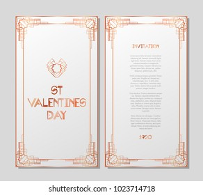 Vintage retro style invitation for Valentines Day in Art Deco. Art deco border and frame. Vector illustration. EPS 10