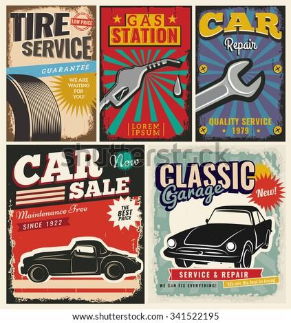 vintage retro style set vector cars のベクター画像素材