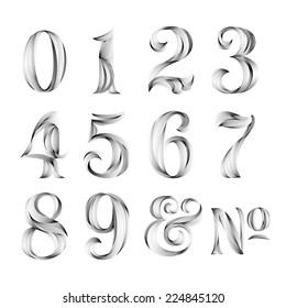 Vintage Retro Style Typography Calligraphy Numbers Set