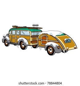 Vintage or retro style woody station wagon with skis on top pulling a trailer as if heading out for a ski vacation or camping trip.
