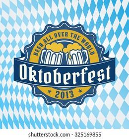 Vintage retro styled vector craft beer label for bar or pub logo on oktoberfest background pattern