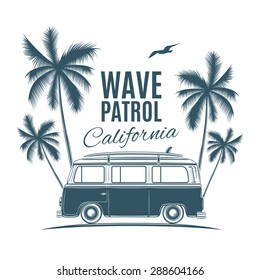 Vintage, retro surf van with palms and a gull. Handdrawn t-shirt graphic, print. Vector illustration.