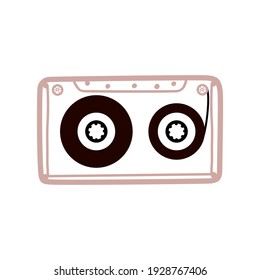 Vintage and retro tape cassette. Retro mixtape, 1980s pop songs tapes and stereo music cassettes. 90s hifi disco dance audiocassette, analogue player record cassette icon. Hand drawn colored elements.