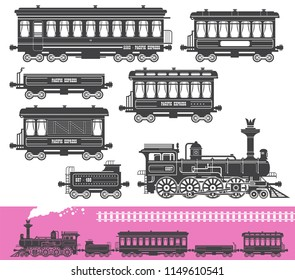 Vintage retro train set with locomotive railroad traffic wagons isolated, vector illustration