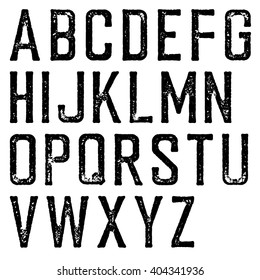 Vintage retro typeface. Stamped alphabet, scratched. Isolated on white