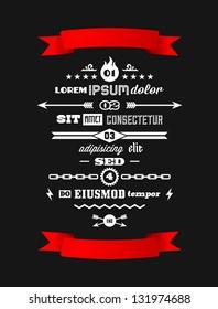 vintage retro typographic infographics with red  ribbon