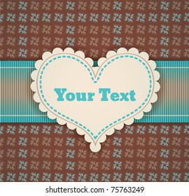 vintage retro vector cute frame with heart