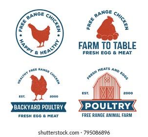 vintage retro vector label badge design set of farm, poultry, chicken, hen, rooster, livestock