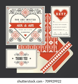 Vintage retro vector Wedding invitation card template set.