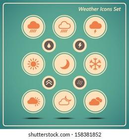 Vintage Retro Weather Icons vector set