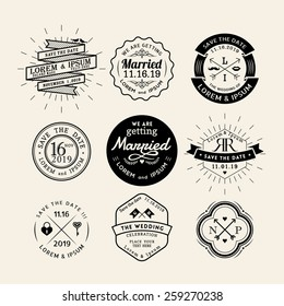 Vintage retro wedding logo frame badge vector design element