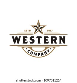 Vintage Retro Western Country Emblem Texas Logo design