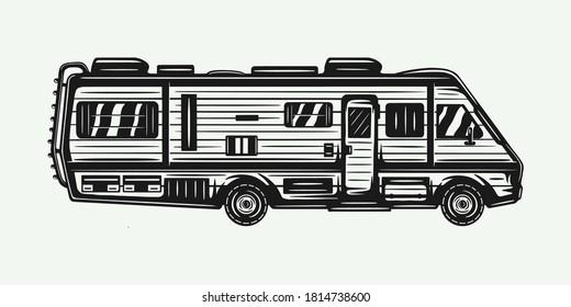 Vintage retro woodcut camper RV trailer. Can be used like emblem, logo, badge, label. mark, poster or print. Monochrome Graphic Art. Vector Illustration.