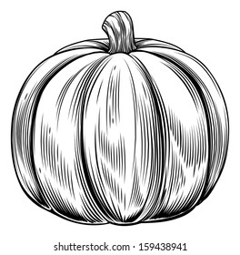 A vintage retro woodcut print or etching style pumpkin illustration