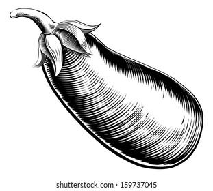 A vintage retro woodcut print or etching style  eggplant, brinjal or aubergine illustration