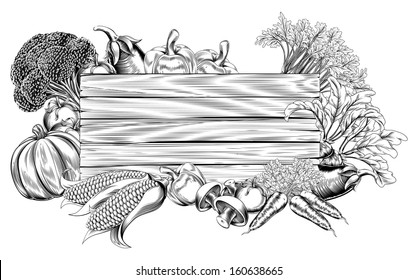 A vintage retro woodcut print or etching style vegetable wooden sign illustration