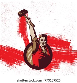 Vintage Revolution Logo. Propaganda Background Style Revolution raising The Sledgehammer.