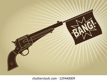 Vintage Revolver Bang Silhouette
