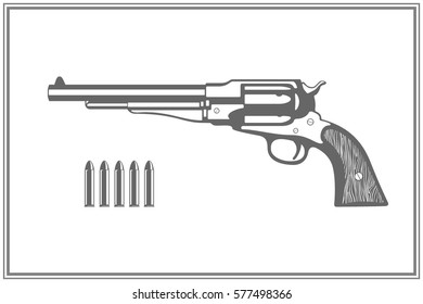 Vintage revolver gun and ammunition silhouettes. Vector illustration.