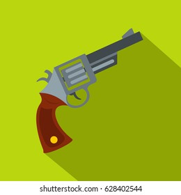 Vintage revolver icon. Flat illustration of vintage revolver vector icon for web on lime background