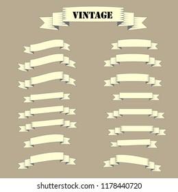 Vintage ribbins set. Vector stock.