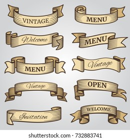 Vintage ribbon banners with engraved shadows vector set. Ribbon flag collection drawing, swirl and twisted invitation and welcome illustration