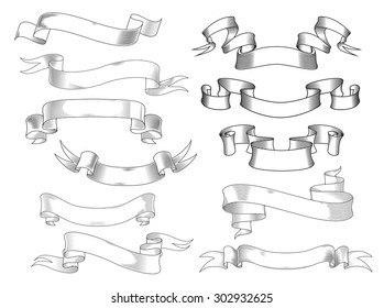 Vintage ribbon banners and scrolls with forked and curved ends in engraving style, isolated on white