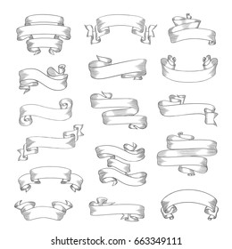 Vintage ribbon banners for your text. Hand-drawn sketch illustrations. Eps10 vector.