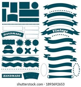 Vintage ribbon frame set. Isolated various shape border label design element collection. Banner decoration vector illustration