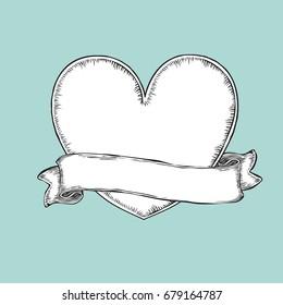 Vintage ribbon over heart. Tattoo template illustration
