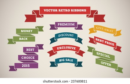 Vintage Ribbons for Marketing and Sales. Increasing consumer demand. Vector illustration