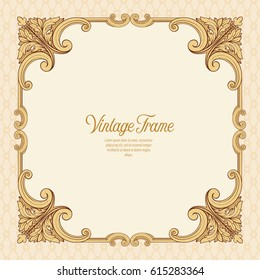 Vintage richly decorated frame in rococo style for menus, ads, advertisements, labels. Stock vector illustration.