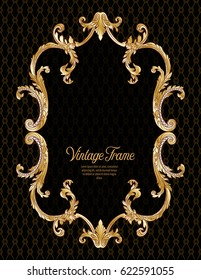 Vintage richly decorated frame in rococo style for menus, ads, advertisements, labels. In gold on black background. Stock vector illustration.