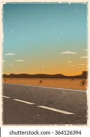 Vintage road poster template, background with asphalt road, desert, mountains and sunset. Grunge texture