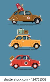 Vintage road trip summer vacation small cars, vector flat design. Hippie surf car with surfboard, yellow two door car with luggage suitcases on roof rack and basket picnic small city vintage car