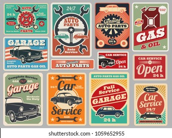 Vintage road vehicle repair service, gas station, car garage vector signs. Garage repair service, advertising poster and signboard illustration