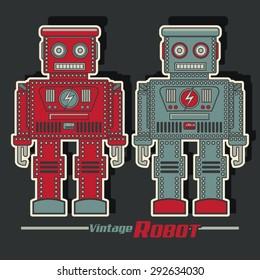 Vintage robot illustration, typography, t-shirt graphics, vectors