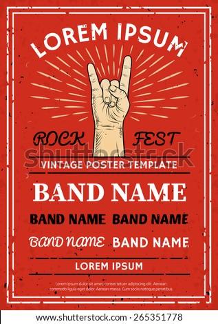 vintage rock festival poster flyer rock のベクター画像素材