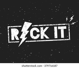 Vintage Rock Label. Rock It. Vector illustration with lightning on dark background. Template for your t-shirt, flyer, poster, banner, disc cover, cafe or some art works.